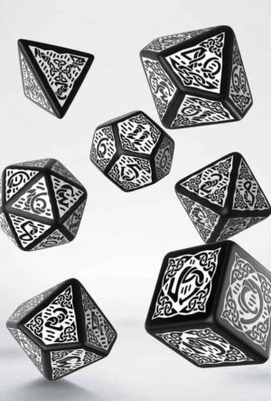 Celtic 3D Revised Dice Set Revised black & white (7)
