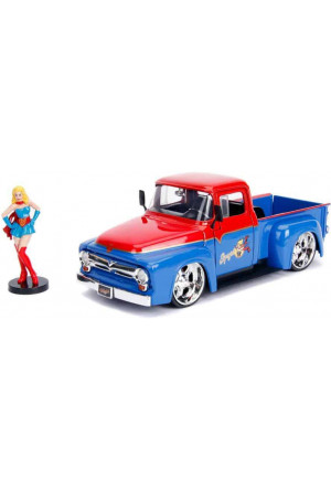 DC Bombshells Diecast Model Hollywood Rides 1/24 1956 Ford F100 with Super Girl Figure