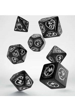 Dragons Dice Set black & white (7)