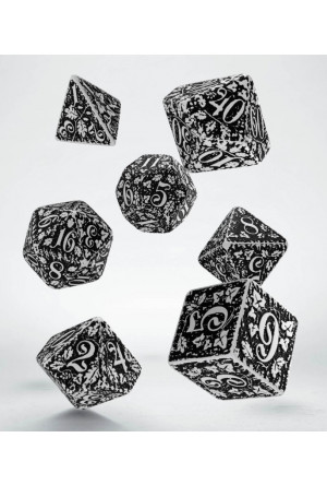 Forest 3D Dice Set white & black (7)