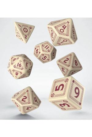 RuneQuest Dice Set beige & burgundy (7)
