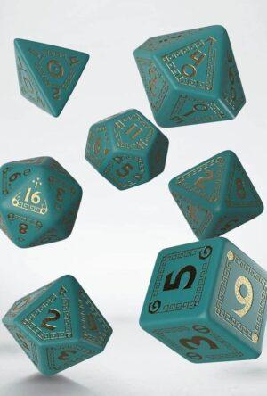RuneQuest Dice Set turquoise & gold (7)