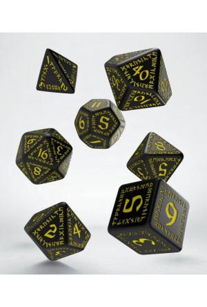 Runic Dice Set black & yellow (7)