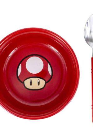 Super Mario Breakfast Set Bowl with spoon Power-Up Mushroom