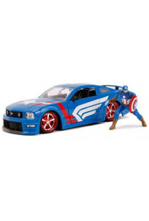 Marvel Hollywood Rides Diecast Model 1/24 2006 Ford Mustang GT with Captain America Figure