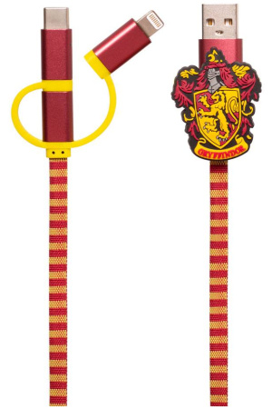 Harry Potter Retractable Hogwarts Scarf Cable 3in1 Gryffindor